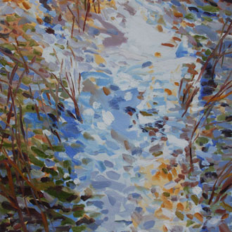 Blue Pond, Red Grasses II