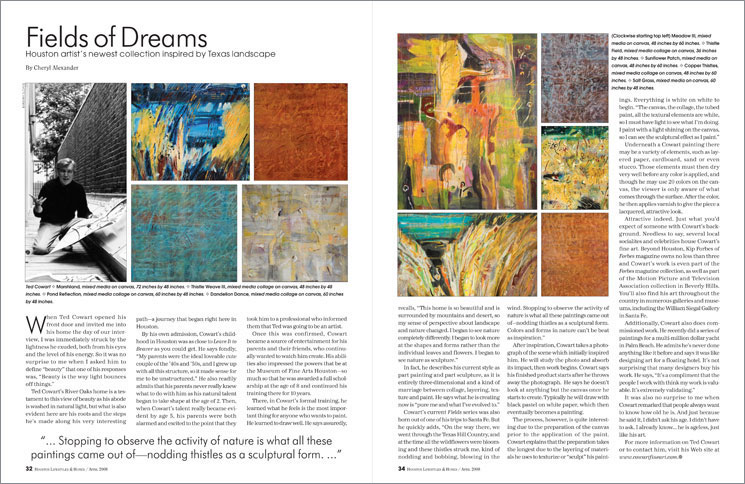 Article in Houston Lifestyles About Ted Cowart's Art